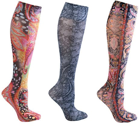 Celeste Stein® Women's Printed Closed Toe Wide Calf Mild Compression Knee High Stockings - Paisley & Lace - 3 Pack