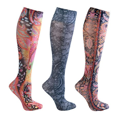 Celeste Stein® Women's Printed Closed Toe Moderate Compression Knee High Stockings - Paisley & Lace - 3 Pack