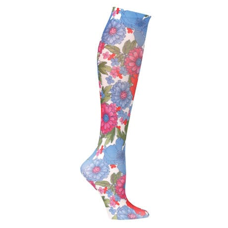 Wide Calf Printed Moderate Compression Knee Highs - Flower Garden