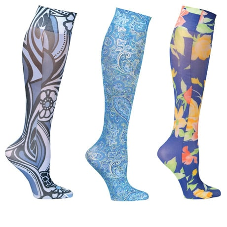 Celeste Stein® Womens Printed Closed Toe Moderate Compression Knee High Stockings - Floral Wow - 3 Pack