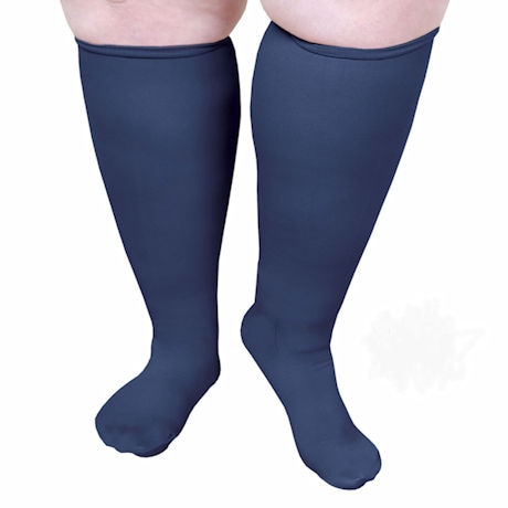 Sheer Closed Toe Extra Wide Calf Moderate Compression Knee High Socks