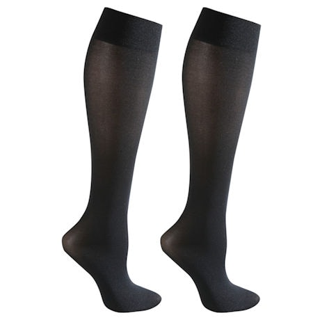 Opaque Closed Toe Wide Calf Moderate Compression Trouser Socks - 2 Pack