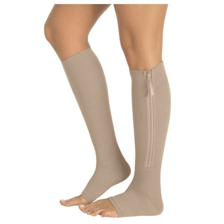 Opaque Open Toe Firm Compression Knee High Compression Socks With Gel Sole & Zipper