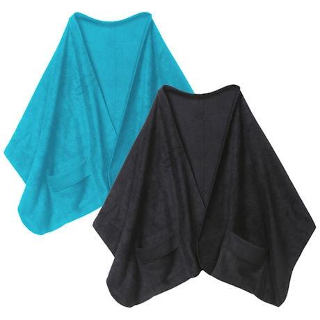 Fleece Shawl Kit Lagoon Blue And Black