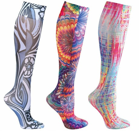 Womens Printed Closed Toe Wide Calf Mild Compression Knee High Stockings - Brights - 3 Pack
