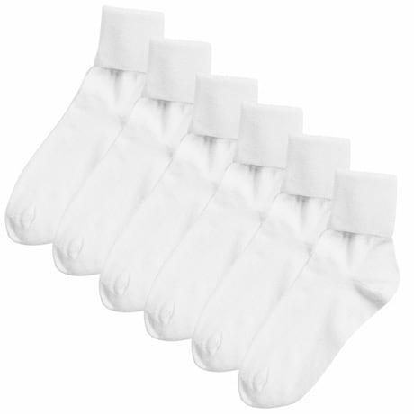 Buster Brown® 100% Cotton Women's Medium Crew Socks - 6 Pack -White