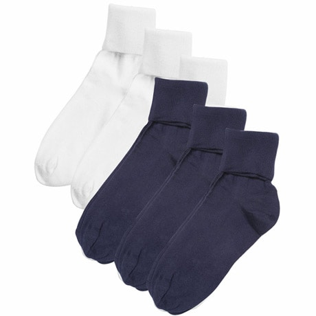 Buster Brown® 100% Cotton Women's Extra Large Crew Socks - 6 Pack (3 White 3 Navy)