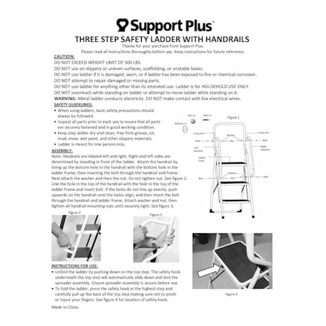 Support Plus® Folding 3-Step Safety Step Ladder - Padded Side Handrails & Attachable Tool Pouch Caddy