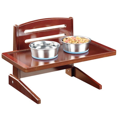 Adjustable Height Wood Doggie Tray