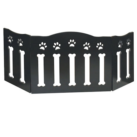 Paw Print and Bones Wooden Pet Gate