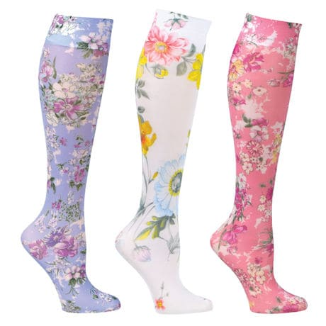 Womens Printed Closed Toe Wide Calf Mild Compression Knee High Stockings - Floral Wow - 3 Pack