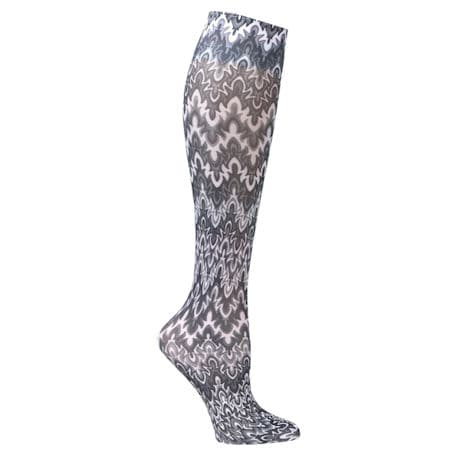 Women's Printed Closed Toe Wide Calf Mild Compression Knee High Stockings - Black - 3 Pack