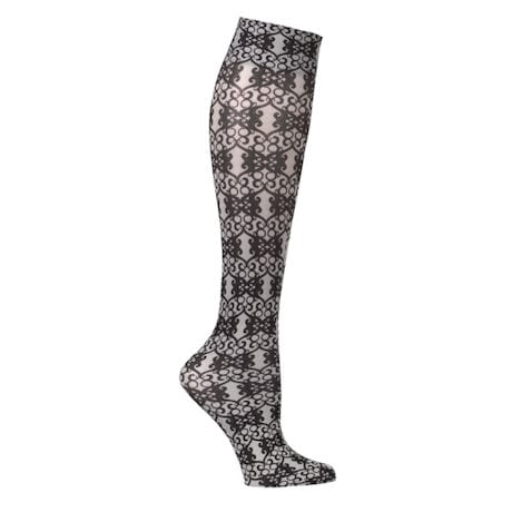 Womens Printed Closed Toe Wide Calf Mild Compression Knee High Stockings - Black - 3 Pack