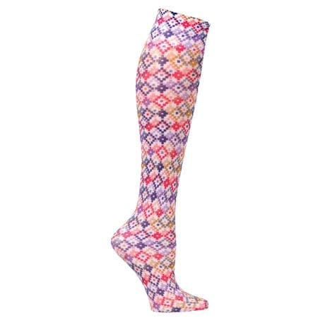 Womens Printed Closed Toe Wide Calf Mild Compression Knee High Stockings - Colorful - 3 Pack