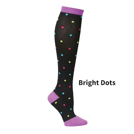 Womens  Closed Toe Mild Compression Knee High Fun Knit Socks