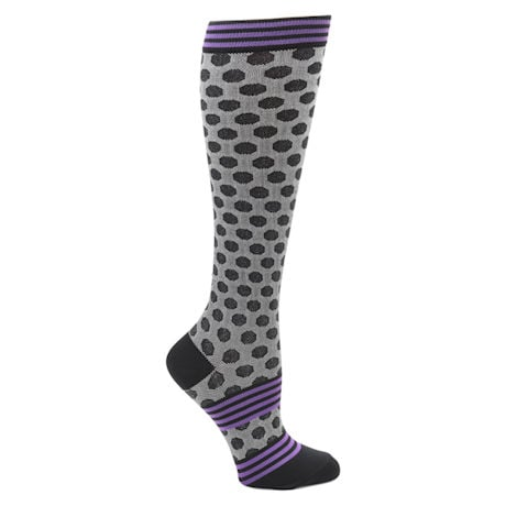 Women's  Closed Toe Wide Calf Mild Compression Knee High Fun Knit Socks