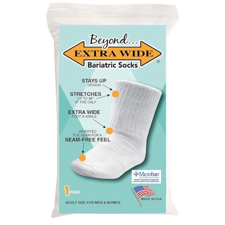 Beyond® Unisex Extra Wide Calf Bariatric Crew Socks