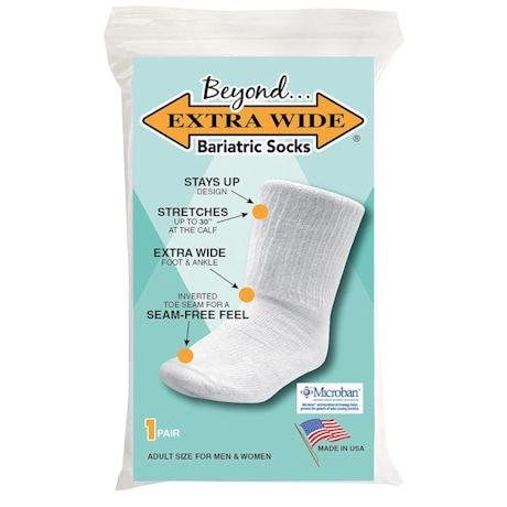 Beyond Unisex Extra Wide Calf Bariatric Crew Socks