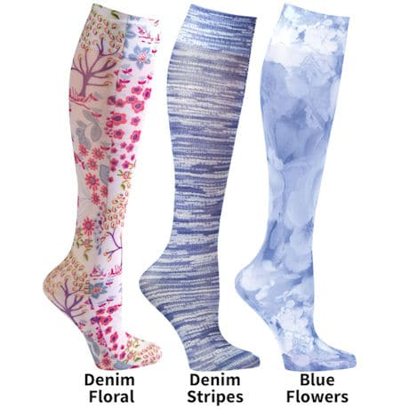 Womens Printed Closed Toe Wide Calf Mild Compression Knee High Stockings - Denim - 3 Pack