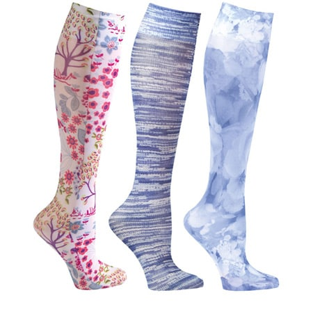 Women's Printed Closed Toe Wide Calf Mild Compression Knee High Stockings - Denim - 3 Pack