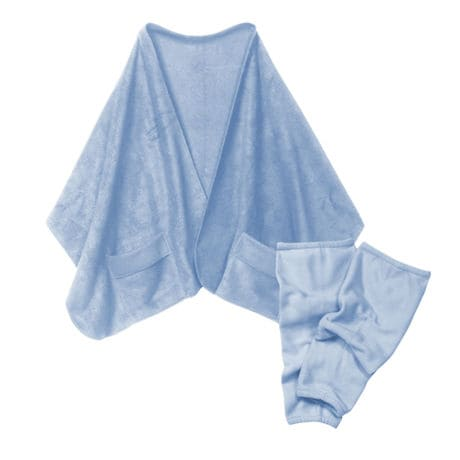 Fleece Pocket Shawl and Regular Leg Warmers Light Blue