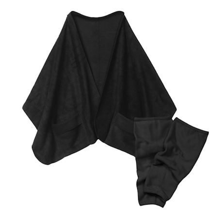Fleece Pocket Shawl and Regular Leg Warmers Black