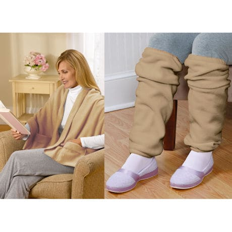 Fleece Pocket Shawl and Regular Leg Warmers Camel