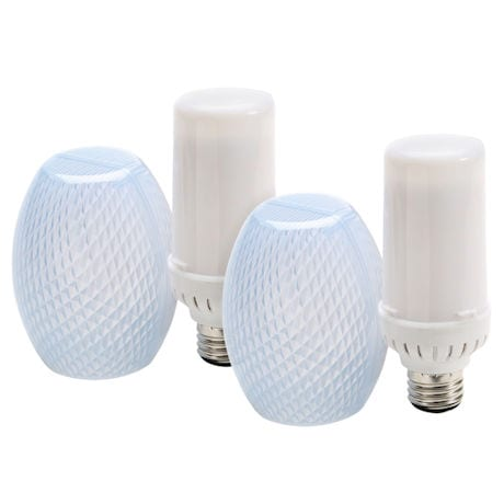 Set of 2 Flamewave Flickering Flame LED Bulb - Top Mount - Flame Runs Top to Bottom