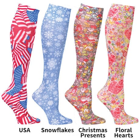 Womens Printed Queen Closed Toe Mild Compression Knee High Stockings - 4 Pack