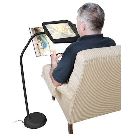 Adjustable Lighted Floor Standing Magnifier - 3x Magnification