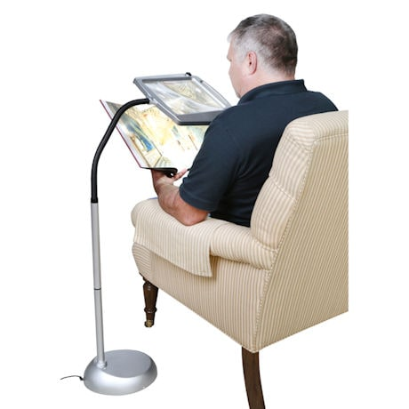 Adjustible Lighted Floor Standing Magnifier - 3x Magnification