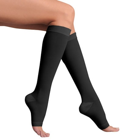 Support Plus® Women's Opaque Open Toe Wide Calf Firm Compression Knee High Stockings