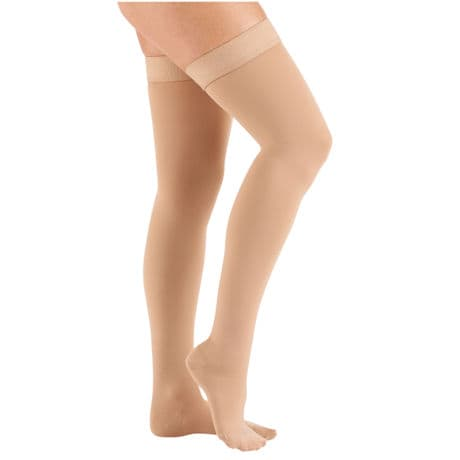 Support Plus® Womens Opaque Closed Toe Firm Compression Thigh High Stockings
