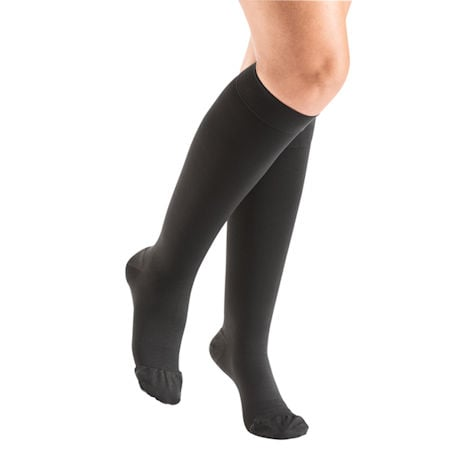 Support Plus® Women's Opaque Closed Toe Firm Compression Thigh High Stockings