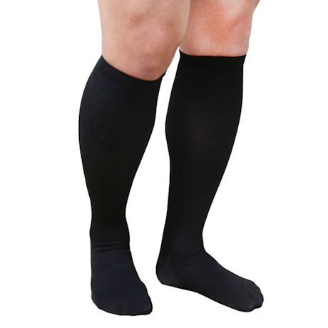 Support Plus® Mens Opaque Wide Calf Moderate Compression Knee High Socks