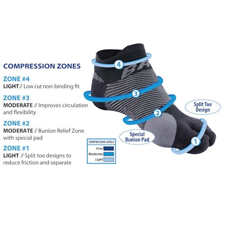 Orthosleeve™ BR04 Bunion Relief Unisex Split Toe Mild Compression Mini-Crew Socks