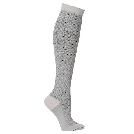Support Plus® Unisex Moderate Compression Knee High Socks - Diamond Block