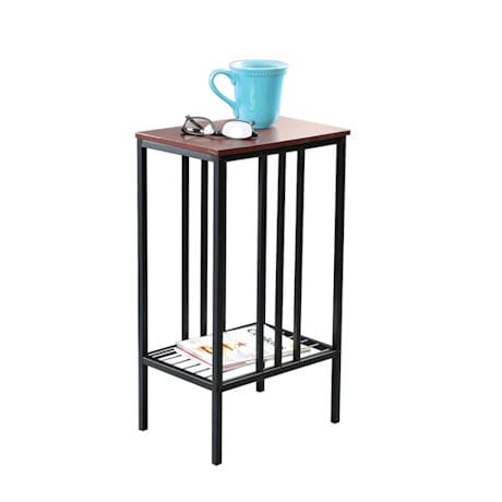 Chair Side Sofa Accent Table - Black Iron with Walnut Top Storage Table