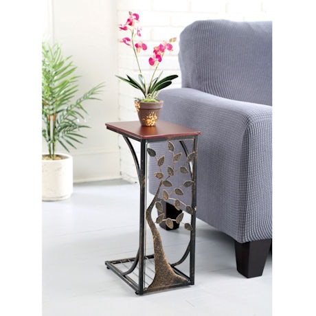 Sofa Side End Table with Metal Tree Design