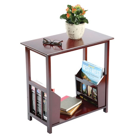 Wood Side Sofa End Table with Dual Magazine Racks - Walnut Finish