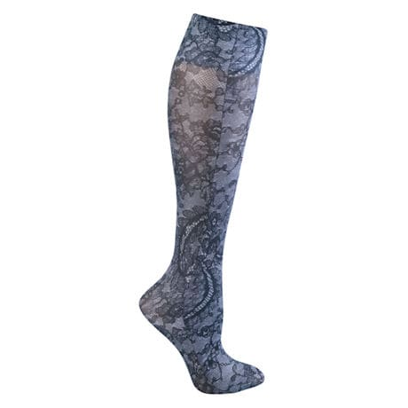 Celeste Stein® Womens Printed Closed Toe Wide Calf Firm Compression Knee High Stockings