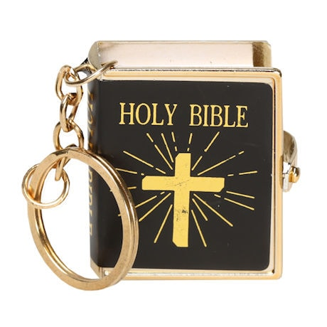 Mini Printed Bible on Keychain