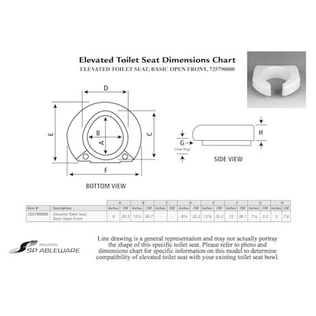 Raised Toilet Seat with Open Front