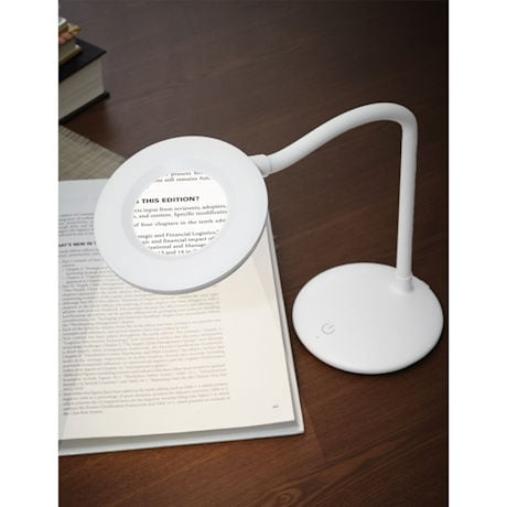 LED Freestanding Table Light with 3X Max Magnifier
