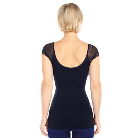 Seamless Shaping Tee with Lace Sleeves