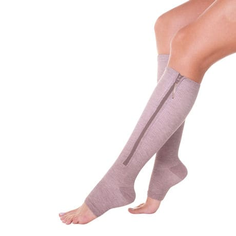 Women's Moderate Compression Open Toe Magnetic Zipper Socks