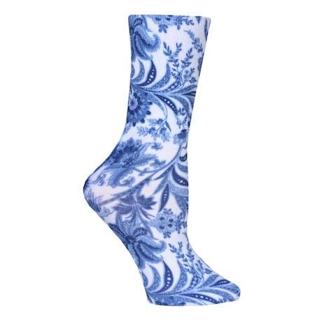 Celeste Stein™ Women's Mild Compression Diabetic Crew Length Printed Socks