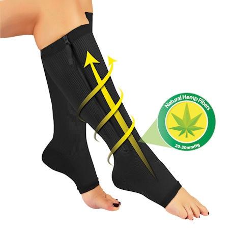 Hemptastic™ Women's Firm Compression Knee High Zipper Socks