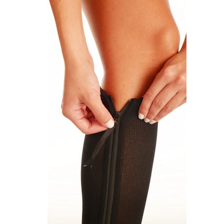 Women's Firm Compression Zip Closure Open Toe Knee High Stockings