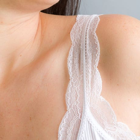 Lace Trimmed Ribbed Bra